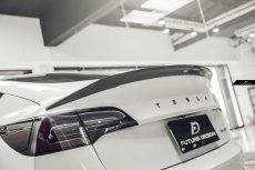 画像1: TESLA テスラ MODEL モデル 3 トランク用 リアスポイラー 本物Drycarbon ドライカーボン (1)